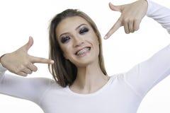Mooi meisje met steunclose-up Stock Fotografie