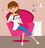 Mooi meisje met tabletcomputer stock illustratie