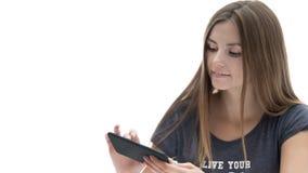 Mooi meisje met telefoon Stock Afbeeldingen