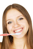 Mooi meisje met tooth-brush Stock Fotografie