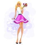 Mooi meisje met tulpen Stock Afbeeldingen