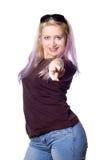 Mooi meisje met violet haar royalty-vrije stock foto's
