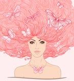 Mooi meisje met vlinders royalty-vrije illustratie
