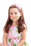 Mooi meisje met vlinderstickers op haar wangen Stock Afbeelding