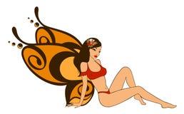 Mooi meisje met vlindervleugels Stock Afbeelding