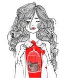 Mooi meisje met vogel in kooi vector illustratie