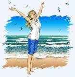 Mooi meisje met wapens uitgestrekt op een tropica royalty-vrije illustratie