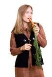 Mooi meisje met wortel Royalty-vrije Stock Foto