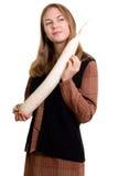 Mooi meisje met wortelsgewas Stock Fotografie