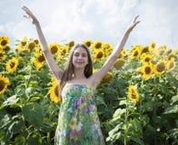 Mooi meisje met zonnebloem Stock Foto