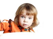 Mooi meisje Mooie die baby op witte achtergrond wordt geïsoleerd Beauti Royalty-vrije Stock Afbeelding