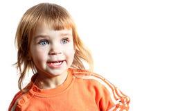 Mooi meisje Mooie die baby op witte achtergrond wordt geïsoleerd Beauti Stock Foto
