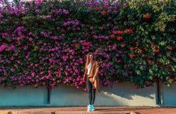 Mooi meisje op een achtergrond van een muur van bloeiende struiken royalty-vrije stock foto's