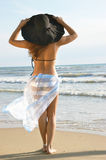 Mooi meisje op een zandige kust stock afbeelding