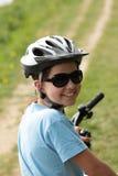 Mooi meisje op fiets royalty-vrije stock afbeeldingen