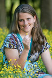 Mooi meisje op gebied Stock Fotografie