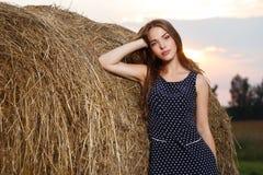 Mooi meisje op het gebied Stock Foto's