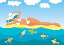 Mooi meisje op overzeese golven Royalty-vrije Illustratie