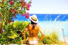Mooi meisje op vakantie Royalty-vrije Stock Foto's