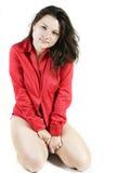 Mooi meisje op wit Stock Fotografie