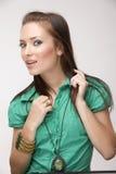 Mooi meisje op witte achtergrond in studio Royalty-vrije Stock Foto