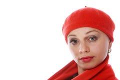 Mooi meisje in rode baret Royalty-vrije Stock Afbeelding