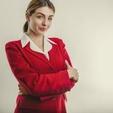 Mooi meisje in rood jasje Stock Afbeelding