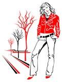 Mooi meisje in rood jasje Royalty-vrije Stock Afbeeldingen