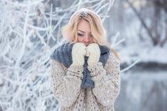 Mooi meisje in roze hoofdtelefoons op de sjaal met sneeuw royalty-vrije stock foto's