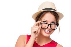 Mooi meisje van 20 jaar in de hoed Stock Afbeelding