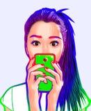 Mooi Meisje Vectorart selfie Stock Afbeeldingen