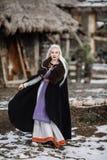 Mooi meisje Viking stock afbeelding