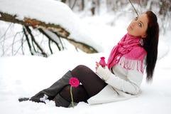 Mooi meisje Vorst, de winter Stock Afbeeldingen