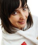 Mooi meisje in witte handdoek Stock Fotografie