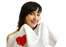 Mooi meisje in witte handdoek Stock Afbeeldingen