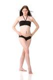 Mooi meisje in zwarte bikini Royalty-vrije Stock Fotografie