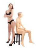 Mooi meisje in zwarte lingerie Royalty-vrije Stock Foto's