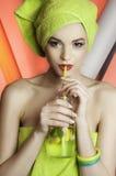 Mooi meisjesmodel met water Stock Fotografie