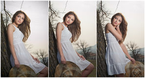 Mooi meisjesportret met hoed dichtbij een boom in de tuin. Jonge Kaukasische sensuele vrouw in een romantisch landschap. Girt in w Stock Afbeelding