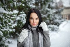 Mooi meisjesportret openlucht in de winter met sneeuw Stock Foto's