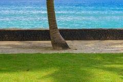 Mooi meningslandschap van een oceaanstrand met groen gras, gouden zand, azuurblauw water en blauwe hemel met wolken in Bali Indon stock foto