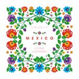 Mooi Mexicaans etnisch Bloemendecoratieontwerp royalty-vrije illustratie