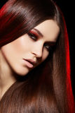 Mooi model met lang recht haar & samenstelling Stock Foto's