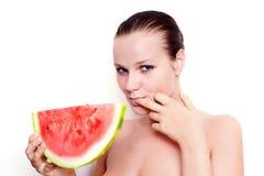 Mooi model met watermeloen Royalty-vrije Stock Fotografie