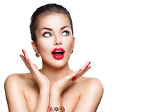 Mooi modelmeisje met perfecte make-up stock foto's