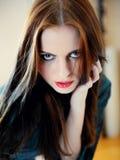 Mooi modelvrouwengezicht met maniersamenstelling Royalty-vrije Stock Foto's
