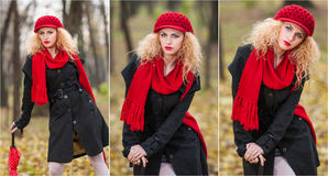 Mooi modieus jong meisje met rode paraplu, rood GLB en rode sjaal in het park Royalty-vrije Stock Afbeelding