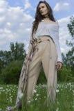Mooi modieus meisje die een in wit overhemd, beige trous dragen stock afbeelding