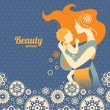 Mooi moedersilhouet met baby in een slinger vector illustratie