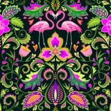 Mooi naadloos behang met exotische bloemen, tropische bladeren en roze flamingo voor tapijt, stof, textiel en verpakkend document stock illustratie